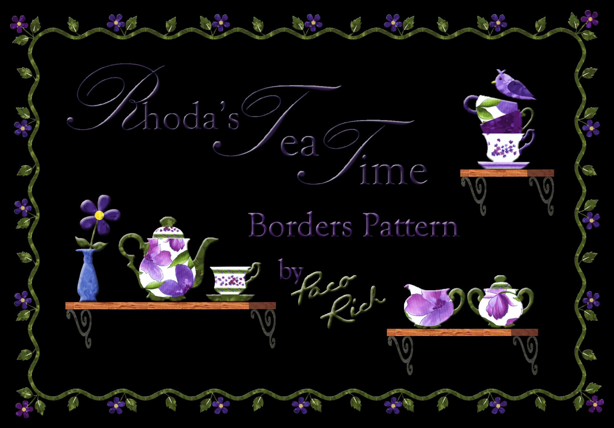 Rhoda's Tea Time Floral Border Applique Pattern
