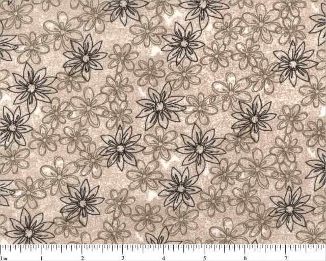 Quilt Back 108 Sketched Floral Tan