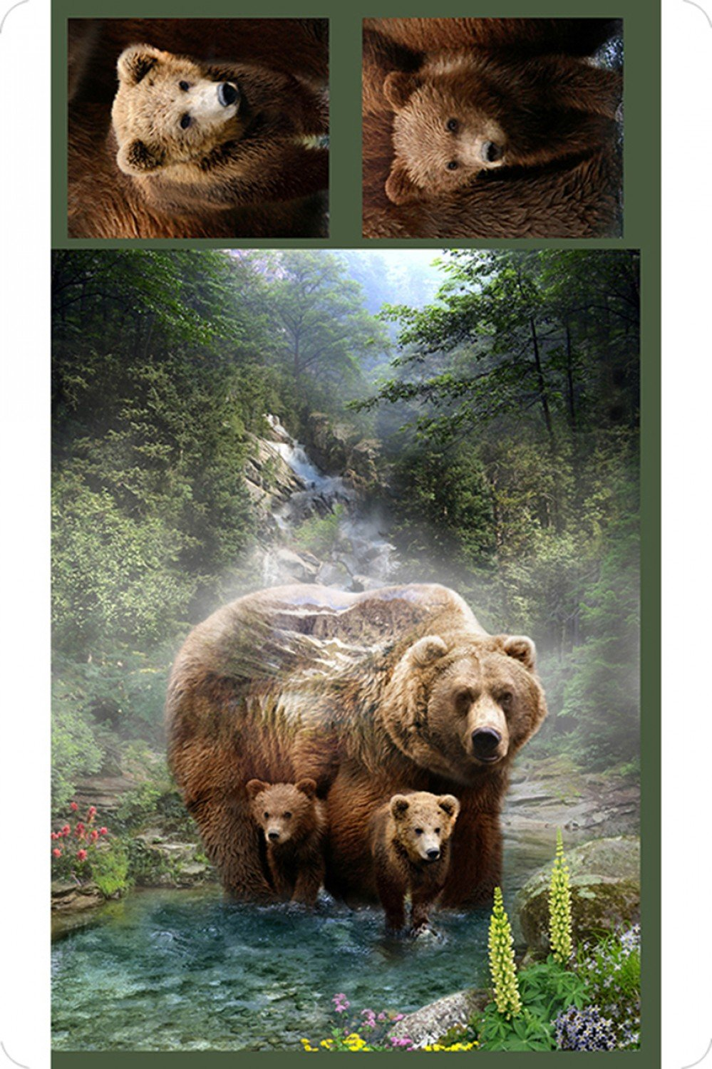 Digital Grizzly Cuddle Panel