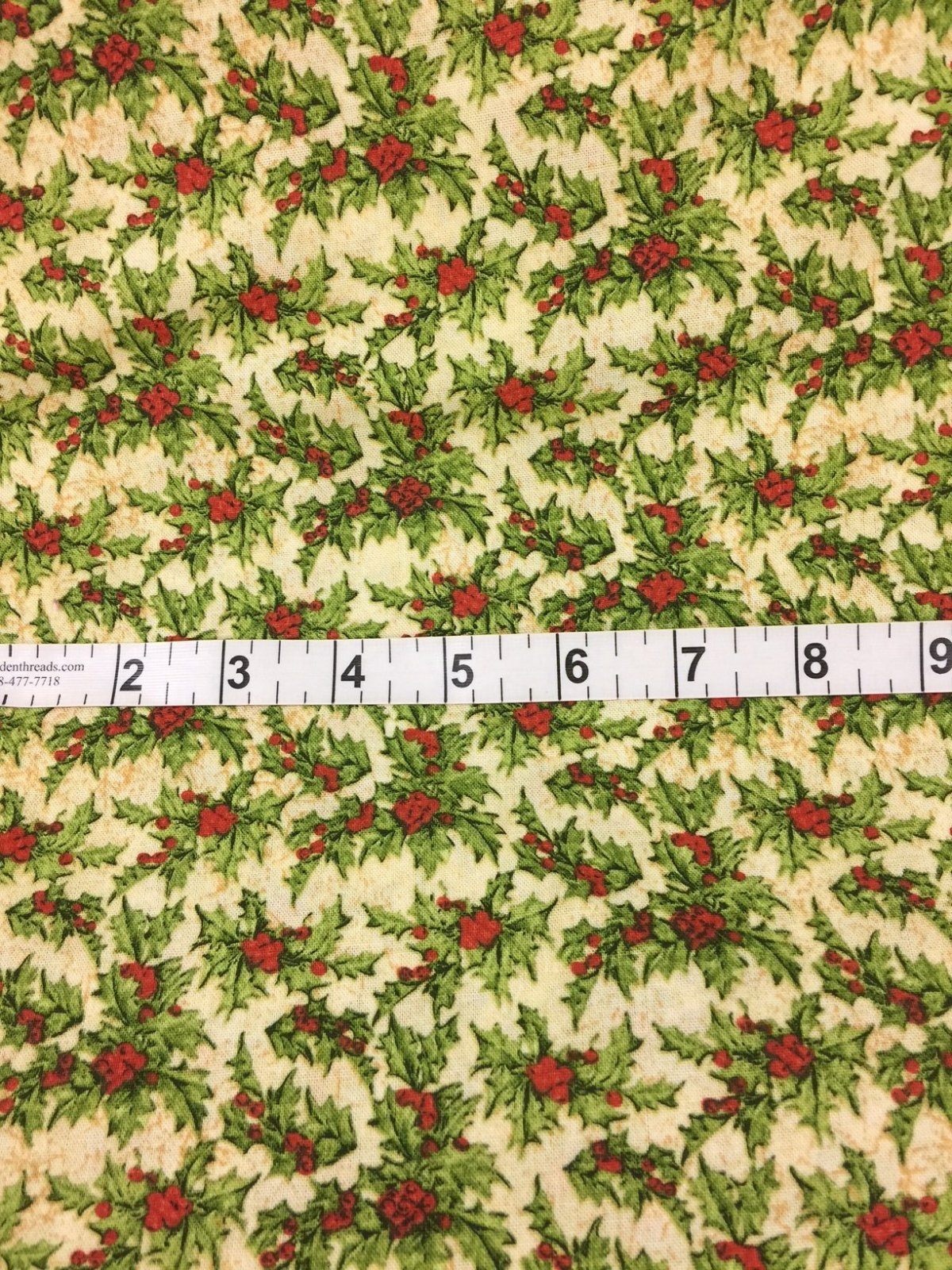 Christmas Fabrics - Small Holly Print
