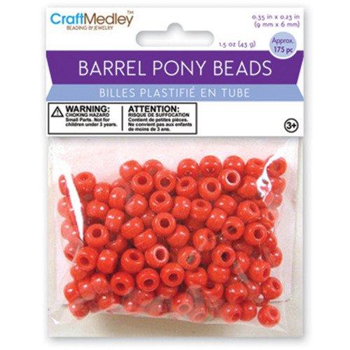Barrel Pony Beads Red