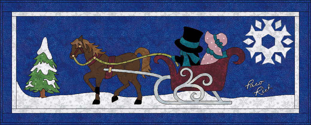 Sunbonnet Sue, Sam & Horse Drawn Sleigh Applique Pattern