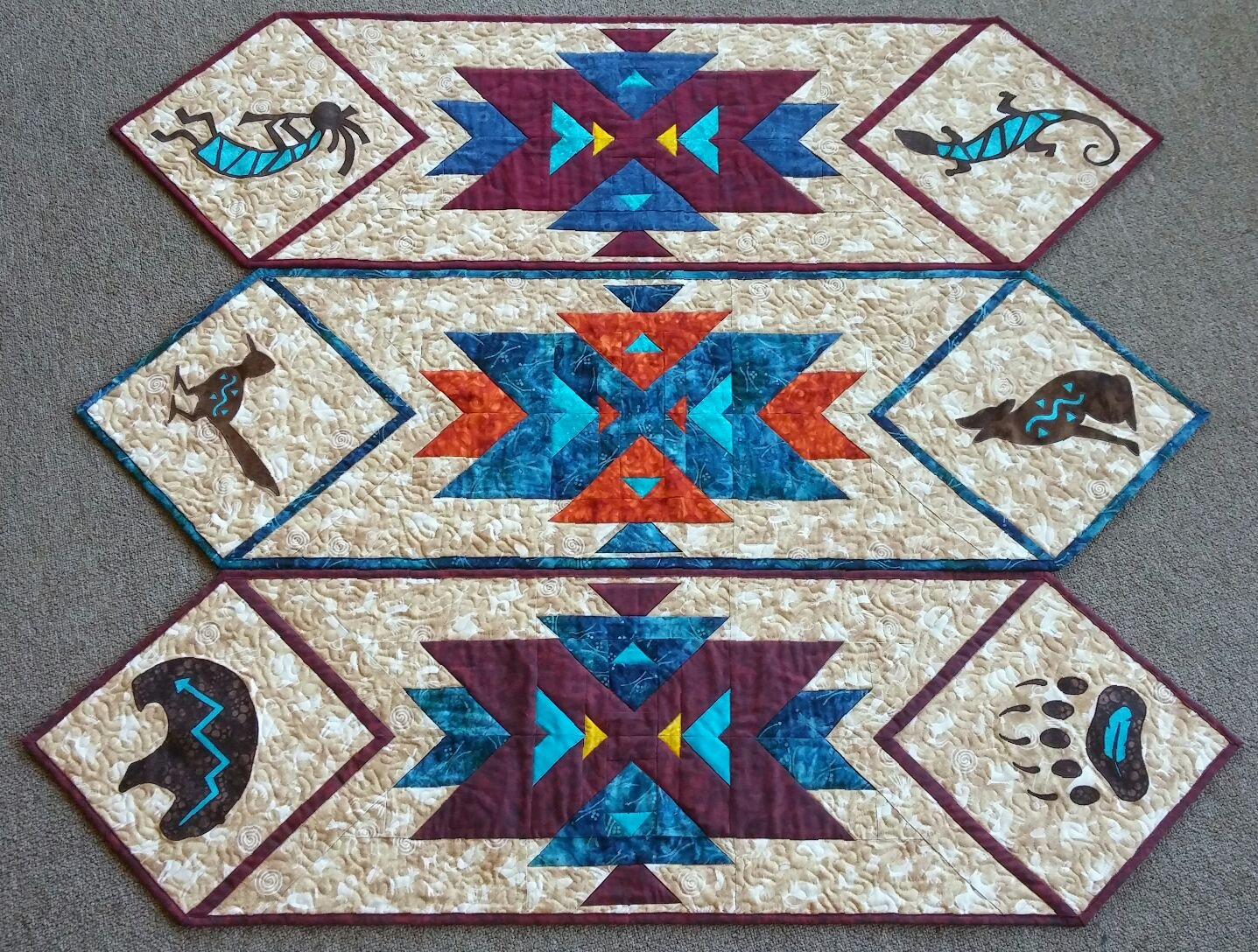 Southwest Kokopelli/Lizard Table Runner