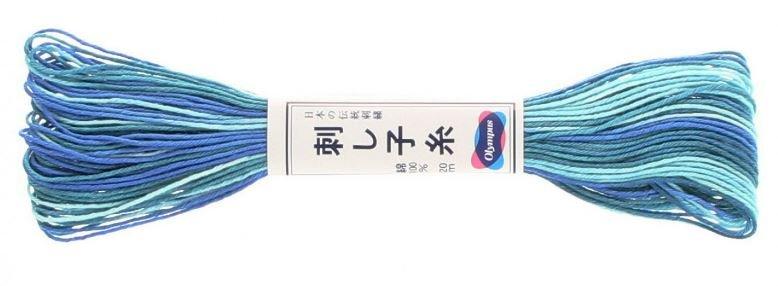 Olympus Sashiko Thread Variegated Blue Teal #72 20m