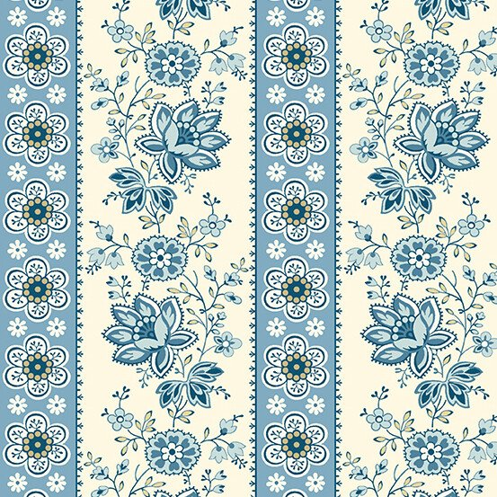 Perfect Union 9578B - Floral Stripe - Blue Bell