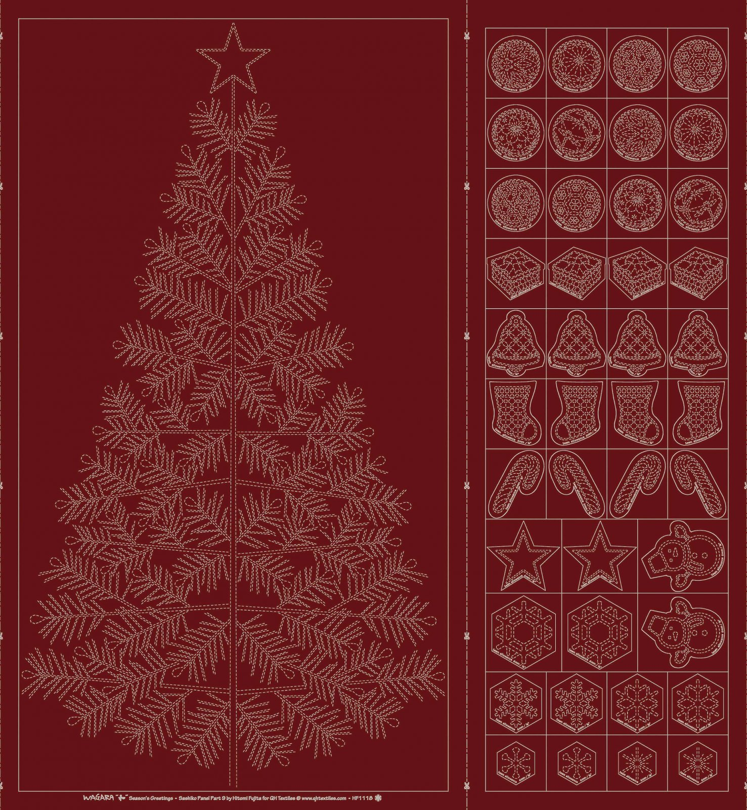 Sashiko Christmas Tree & Decorations Red Panel