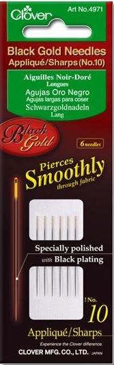 Clover Black Gold Applique/Sharp Needles Size 9