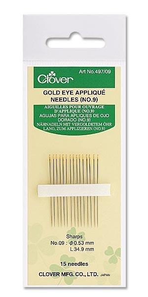Clover Gold Eye Applique Needles Size 10 #497/10