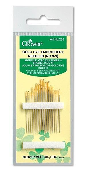 Clover Gold Eye Embroidery Needles 3-9 #235