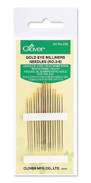 Clover Gold Eye Milliners Needles 3-9 #236