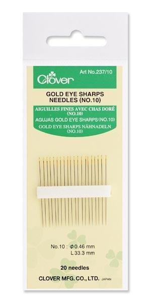 Clover Gold Eye Sharps Needles Size 10 #237/10