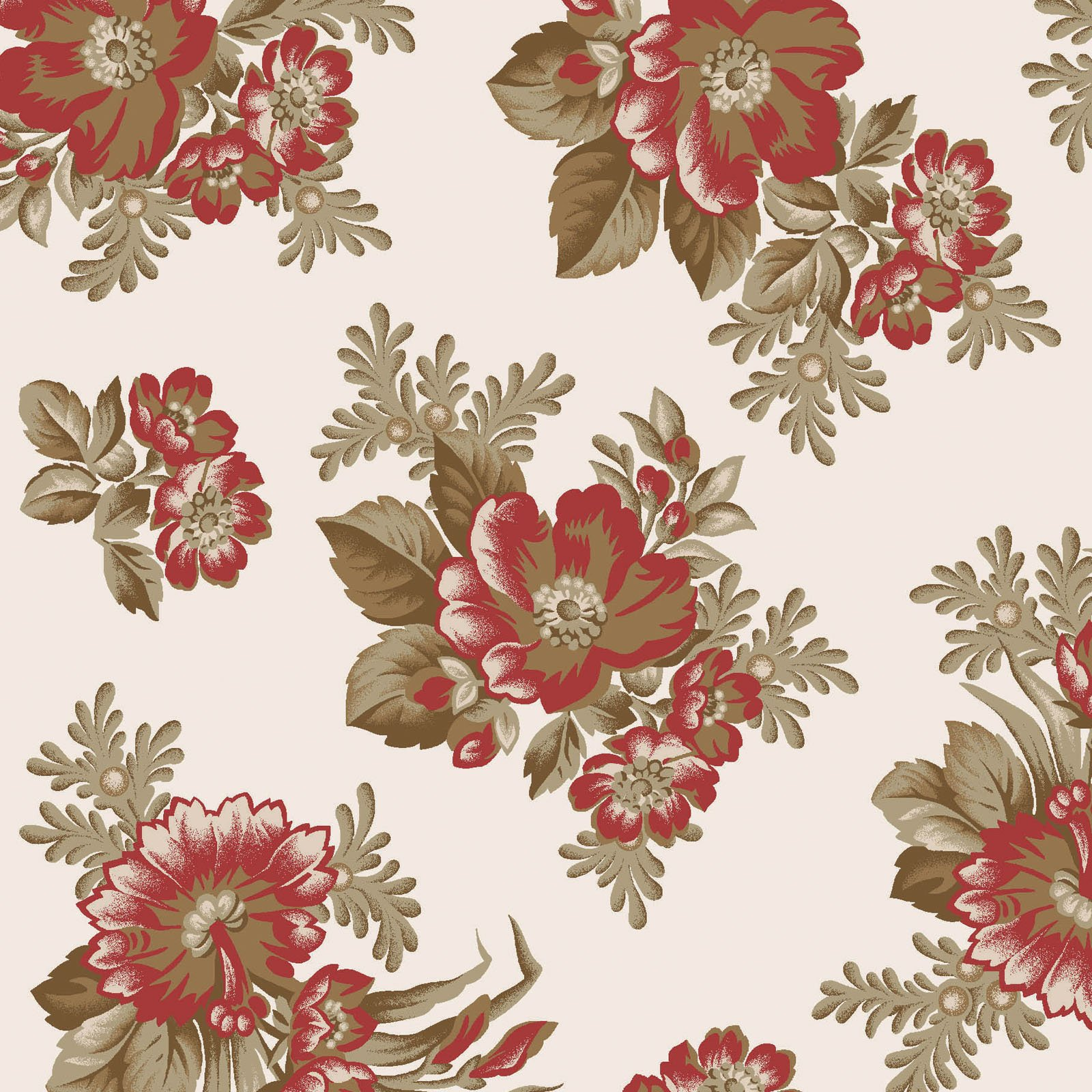 Ruby - Spaced Floral - Ecru
