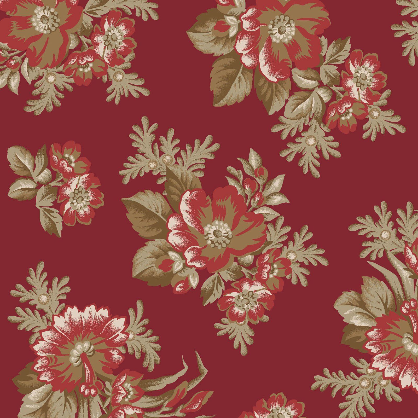 Ruby - Spaced Floral - Red