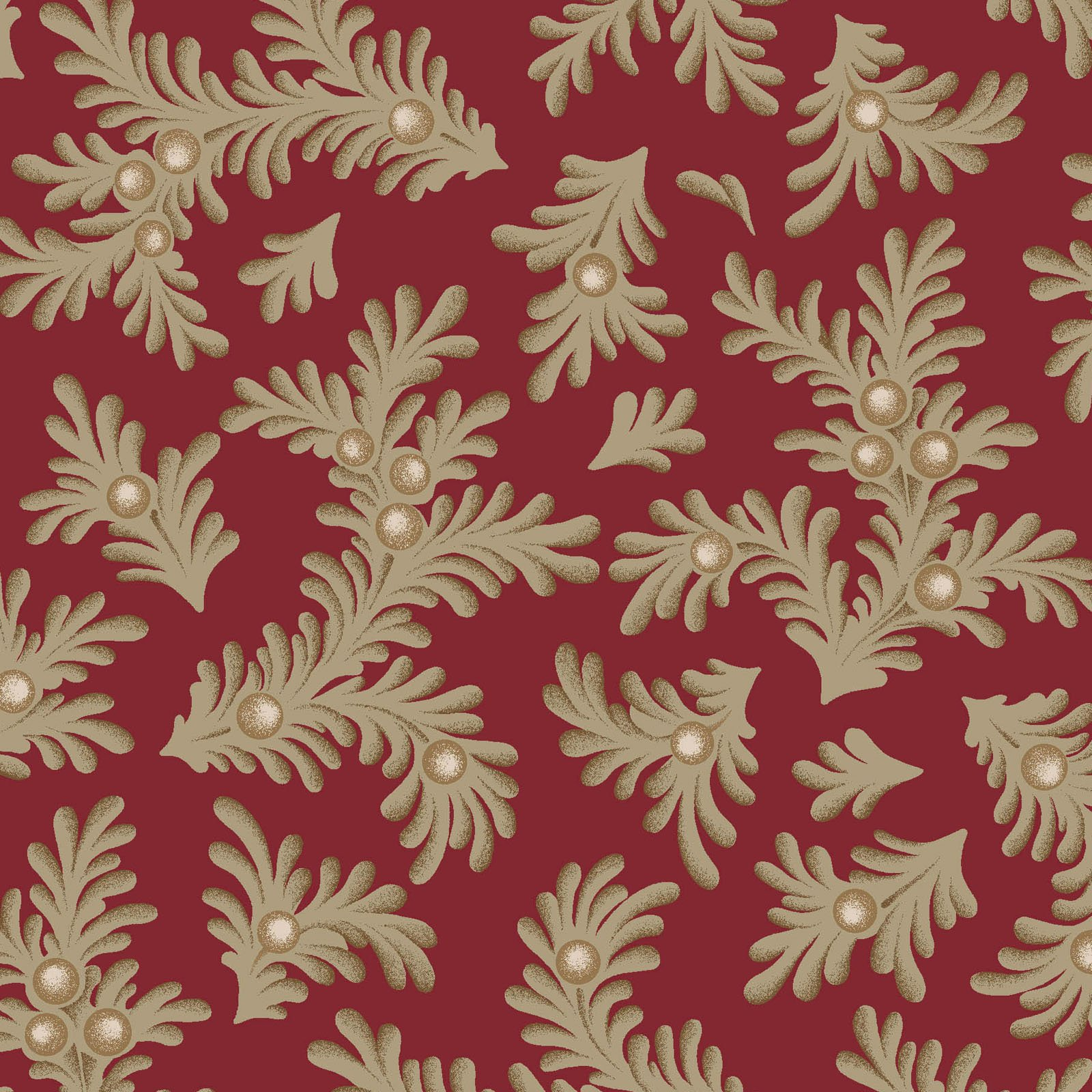 Ruby - Feathered Leaves - Red