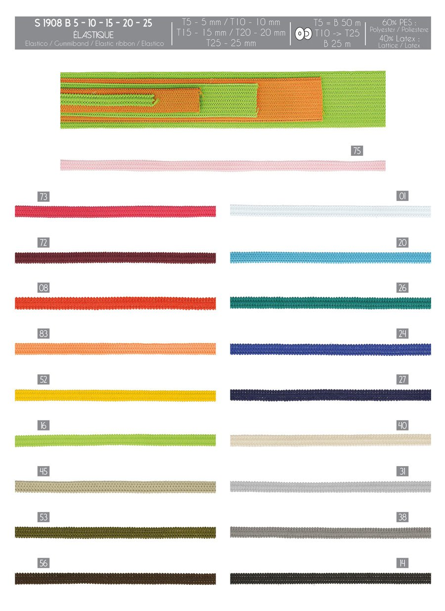 1/4 Elastic in Colors