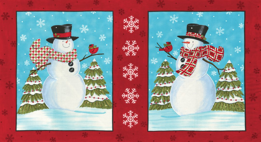 Snow Much Fun Panel Berry Red