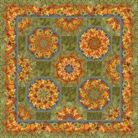 One Fabric Kaleidoscope Quilt Kit - Fall Pumpkins