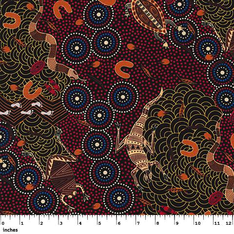 M&S Textiles Around Waterhole Red by Nambooka - M & S TEXTILES AUSTRALIA