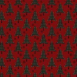 Benartex - Jingle Bell Flannel 10314F - Plaid Trees Berry 20