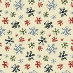 Benartex - Jingle Bell Flannel 10318F - Crossroads Multi Snowflake 99