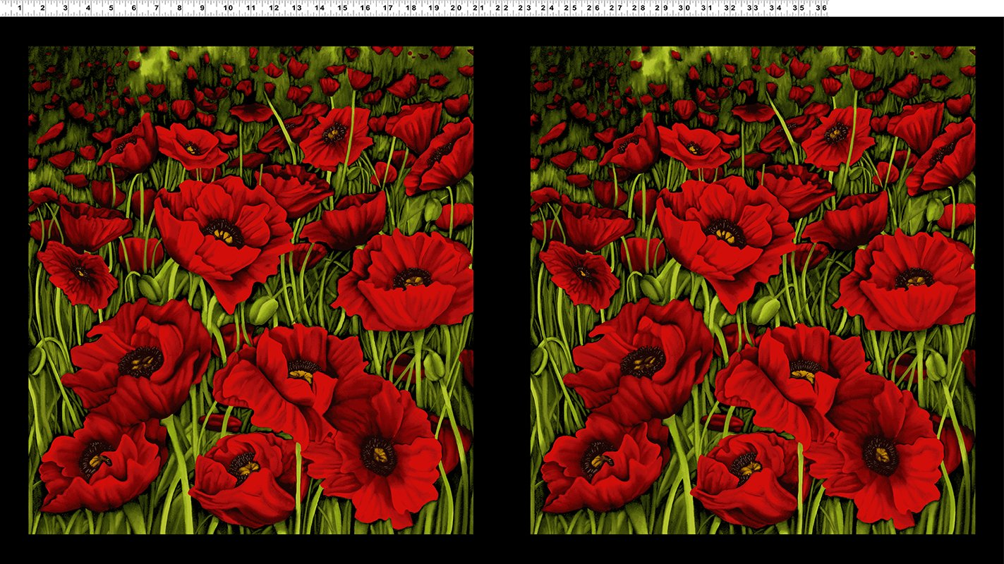 Clothworks Poppy Poetry Y2657-82 Red PANEL