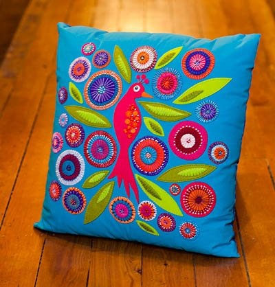 Crested bird Cushion pattern