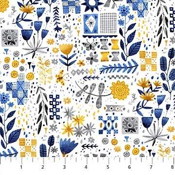 Figo Fabrics Elouise's Garden - Yellow/White