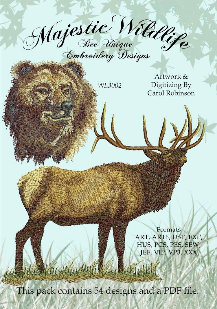 Majestic Wildlife Machine Embroidery Pattern