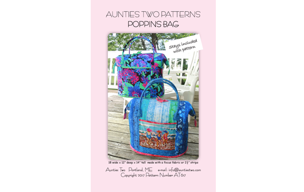 Aunties Two Patterns Poppins Bag (Pattern and Stays)