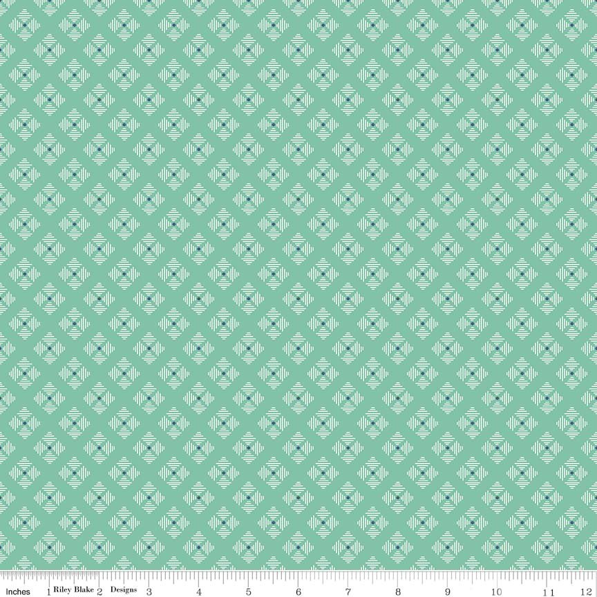 C6409 Stitched Flower Teal