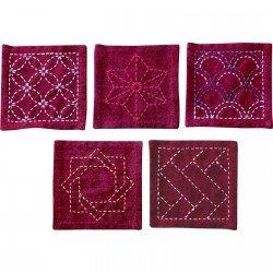 Sashiko Coaster Collection Deep Red