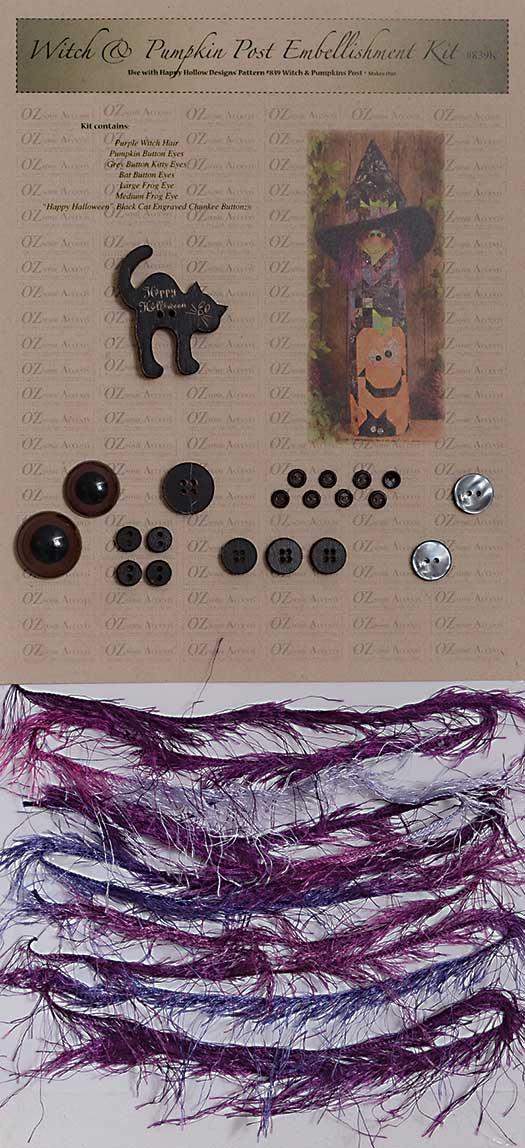 Witch & Pumpkins Post Embellishment Kit