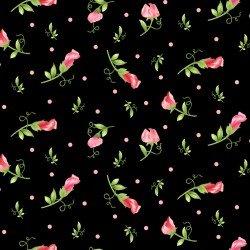 Sweet Pea Flannel Floral Bud Black