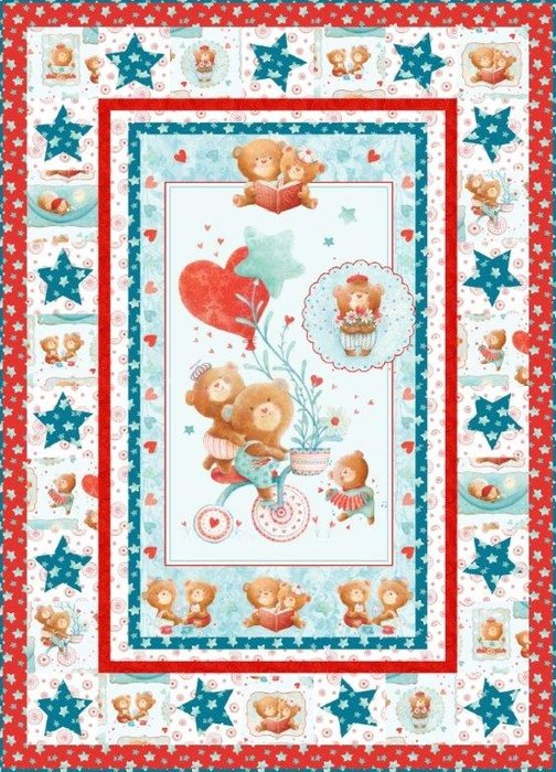 Puffy Teddy Quilt Kit Blue