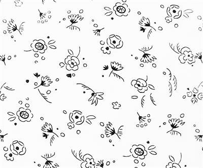 Doodle  White/Black Flowers