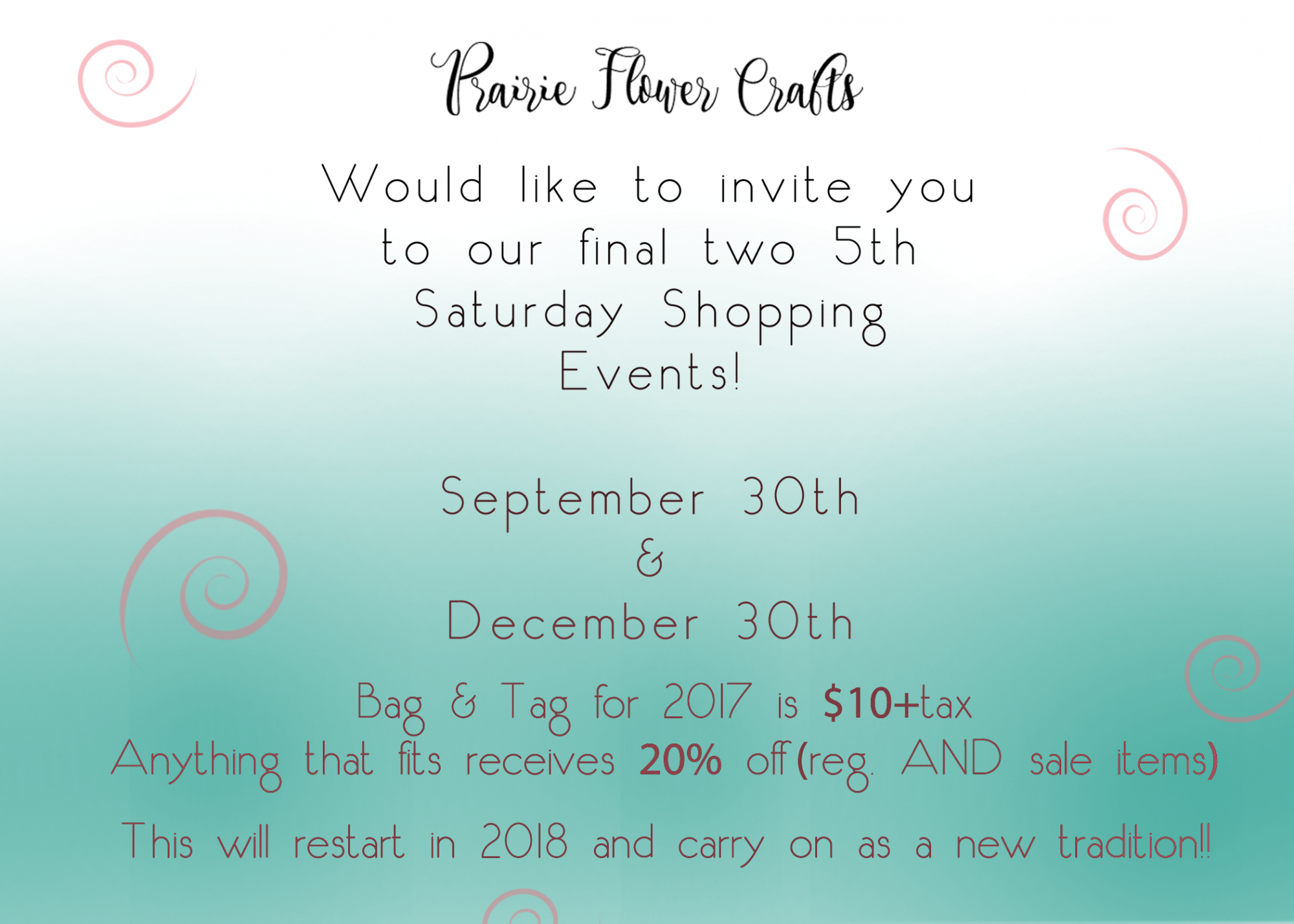 5th Saturdays Save 20% Sept 30th and Dec 30th