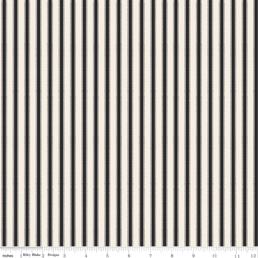 Happy Haunting Black Cream Stripe