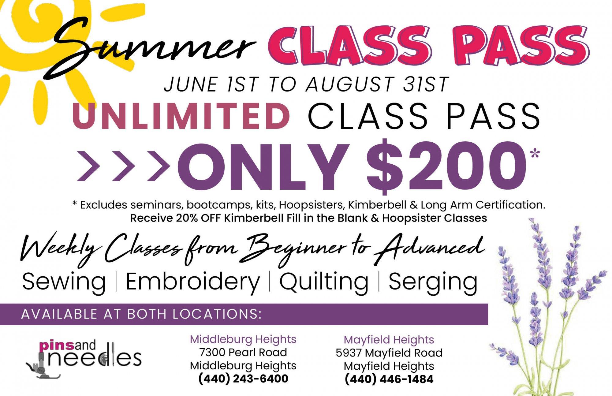 Summer Class Pass (June-August)