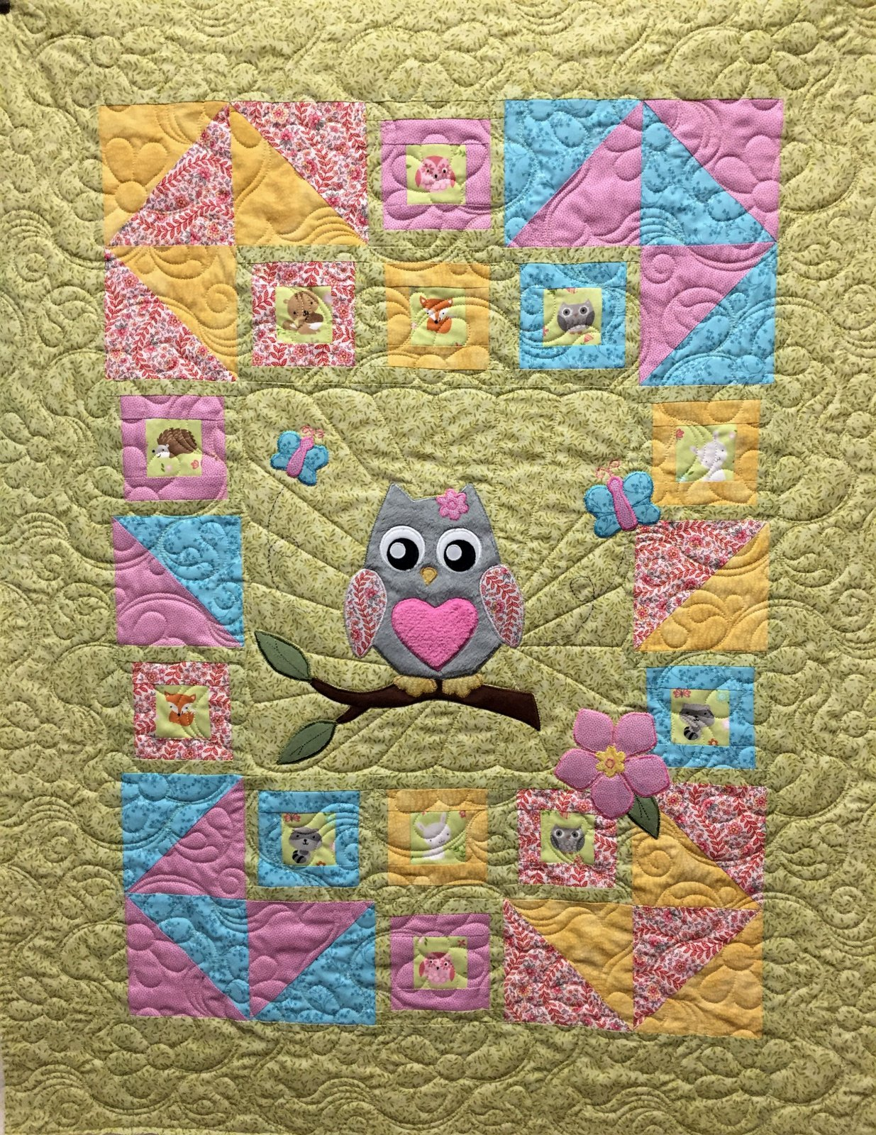 Butterflies and Flowers Baby Quilt