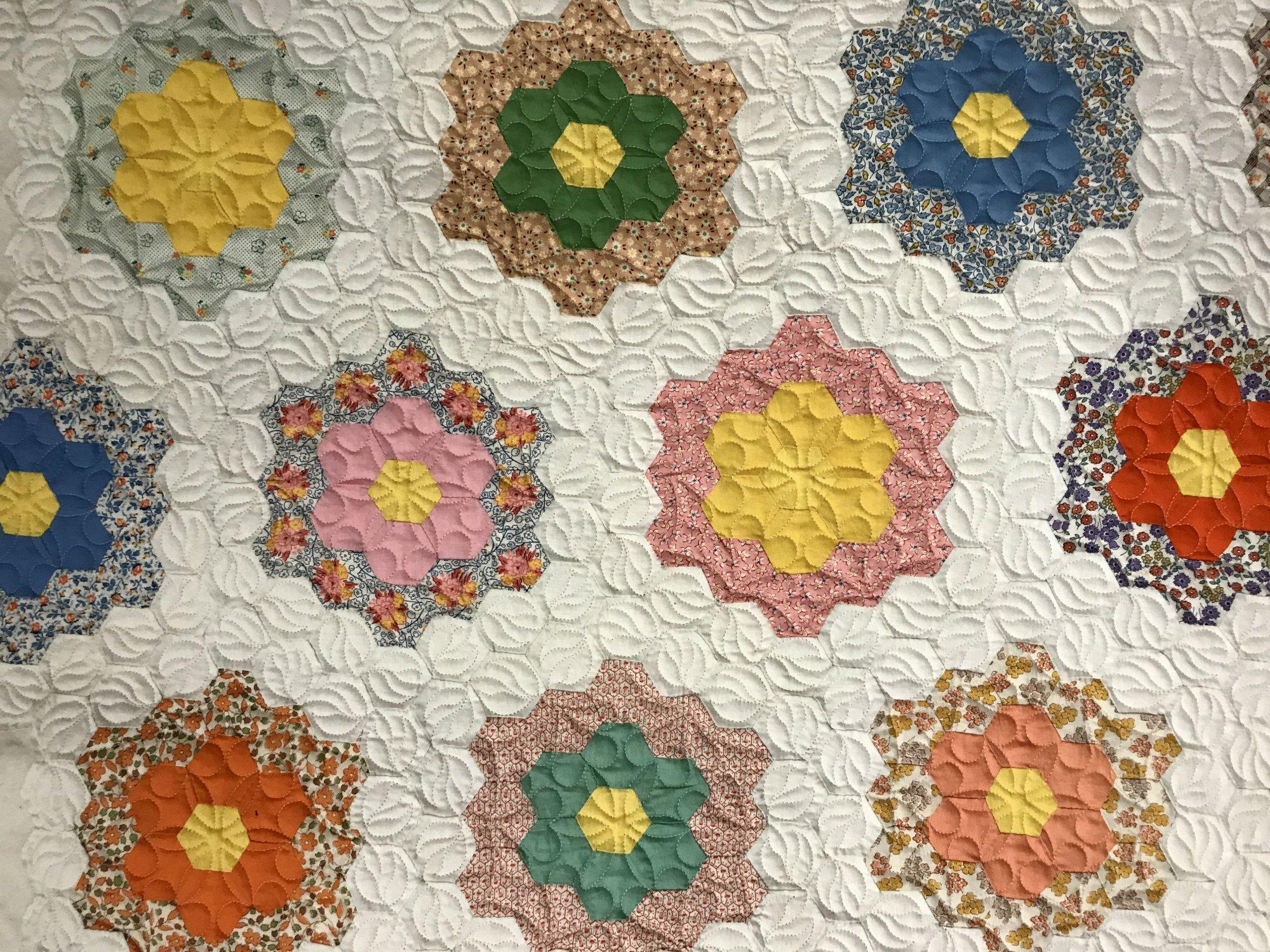 Grandmother's Flower Garden blocks