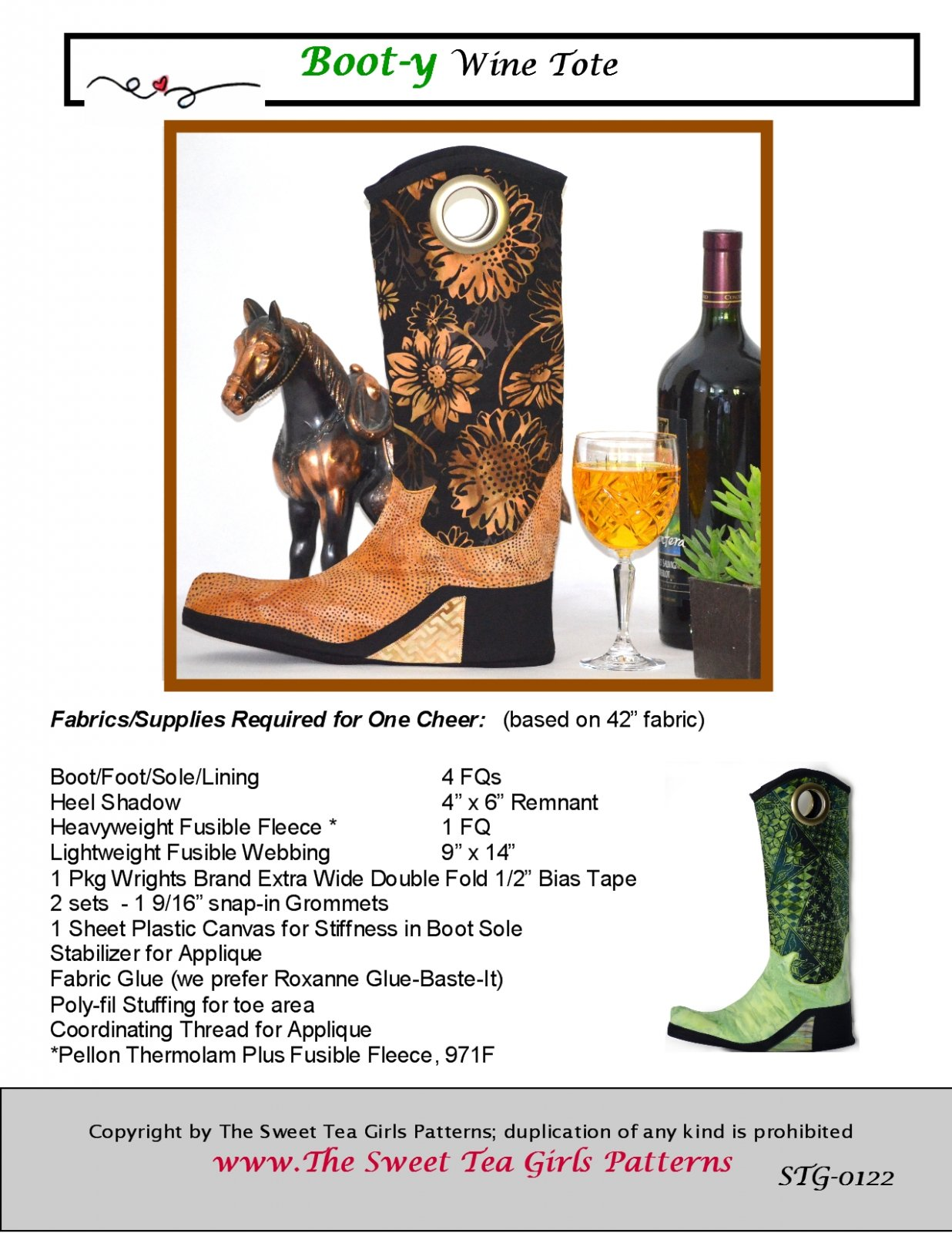 Boot-y Wine Tote - Downloadable PDF