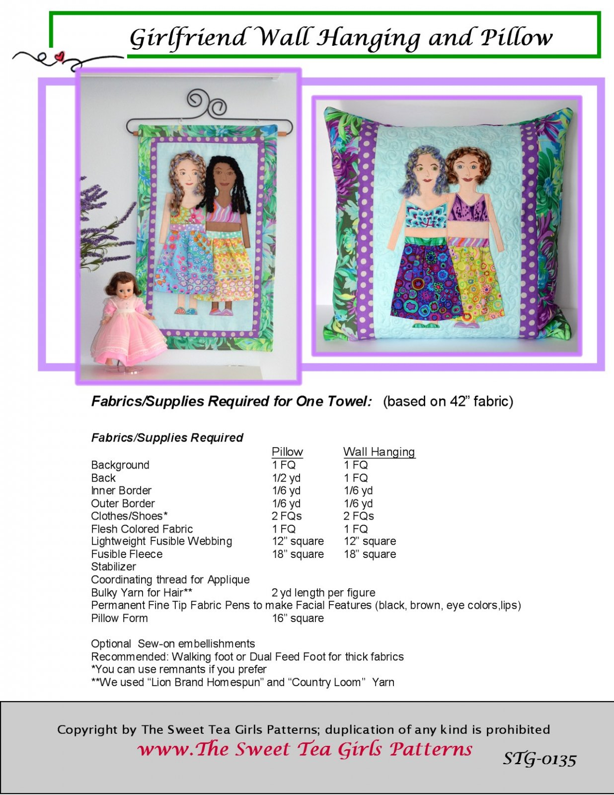 Girlfriend Wall Hanging and Pillow - Downloadable PDF