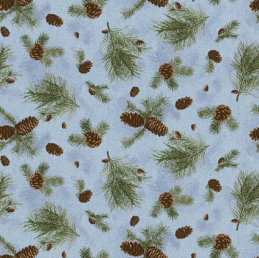 2021 Pine branches - Light Denim Y3317-87