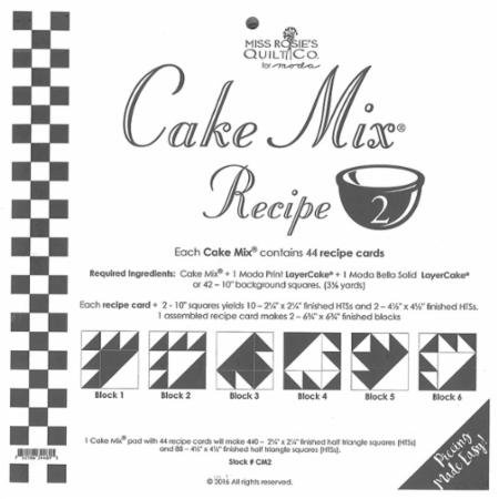 Cake Mix Recipe #2 Miss Rosie's Quilt Co. #CM2