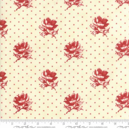 14851 13 Farmhouse Reds Floral Polka Dot Flowers Ivory Red Minick Simpson