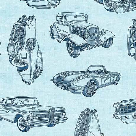 26355Q Motorin' Vintage Car Sketches Lt Aqua