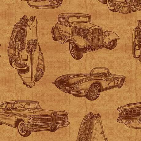 26355S Motorin' Vintage Car Sketches Honey