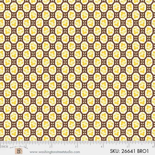 26641BRO1 Vintage 30's Florals Geometric Brown