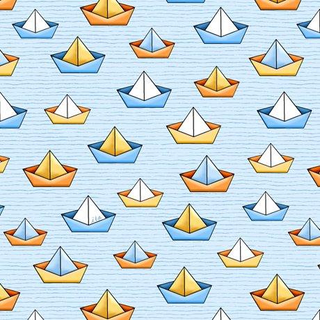 QT Quackers Sailboats Lt Blue 27057B
