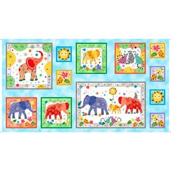 Playful Elephants Elephant Picture Patch Blue 28215 B
